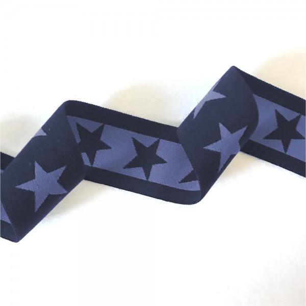 Gummiband Sterne, 4cm, dunkelblau-mittelblau